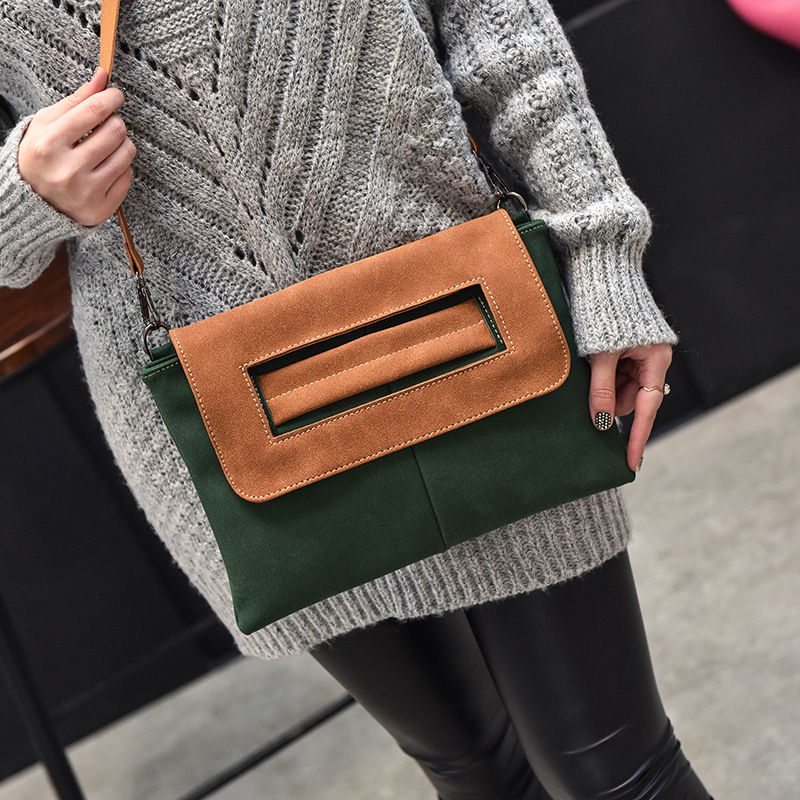 2017 new retro matter leather women messenger bags nubuck envelope bag panelled crossbody shoulder bag lady's eneving day clutch