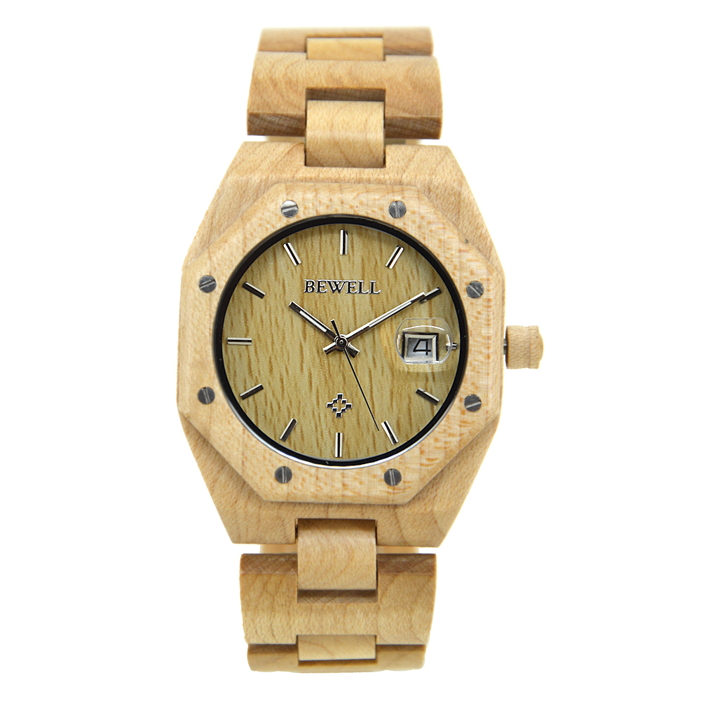 BEWELL New Arrival Irregular Watch All Wood Strap Handmade Natural Quartz Watches for Men with Date Display in Gift Box 099ABEWELL New Arrival Irregular Watch All Wood Strap Handmade Natural Quartz Watches for Men with Date Display in Gift Box 099A