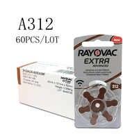 60 pcs Rayovac Extra Zinc Air Hearing Aid Batteries A312 312A ZA312 312 PR41 S312 PR41 Hearing Aid Battery A312 for Hearing aids