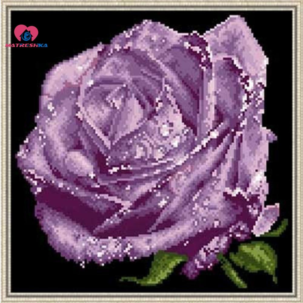30cm*30cm Beads Embroidery Kit Golden Rose Flower Beadwork Crafts Needlework Diy Craft Crochet Felt Manualidades Handmade Sewing