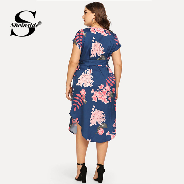 Sheinside Plus Size Elegant Floral Print Straight Belted Dress Women 2019 Summer Casual Roll Up Sleeve Boho Midi Dresses 5