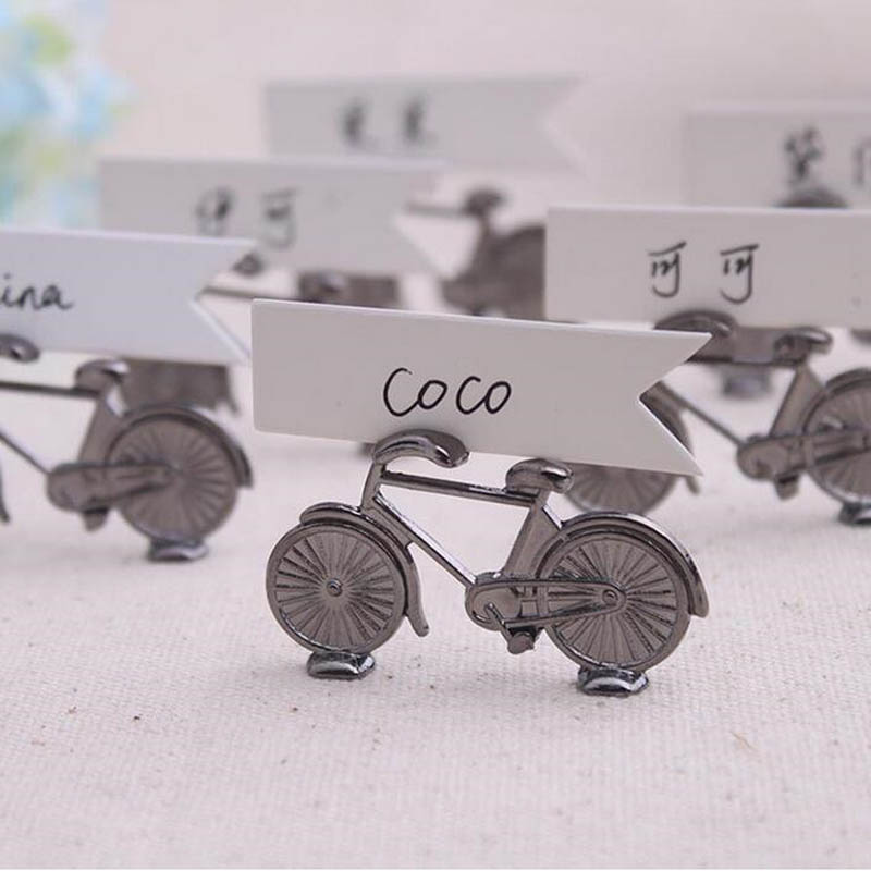 100pcs Creative Vintage Bicycle Bike Table Place Card Holder Name Number Wedding Party Memo Clip Restaurants