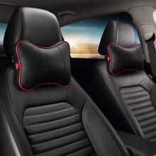 New Arrival 2pcs/lot Leather Car Pillow  Covers Black Auto Neck Rest Cushion Headrest Mat