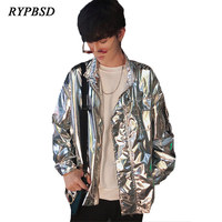 2019 Autumn New Fashion Shiny Metallic Stand Collar Loose Silver Black Stage Performance Streetwear Hip Hop Jacket Men M 5XL