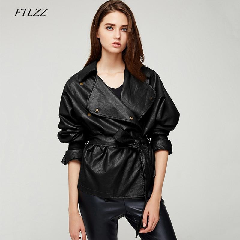 FTLZZ New Spring Women's Loose Washed Pu   Leather   Jacket Sashes Design Bright Colors Coats Short Punk Faux   Leather   Jackets