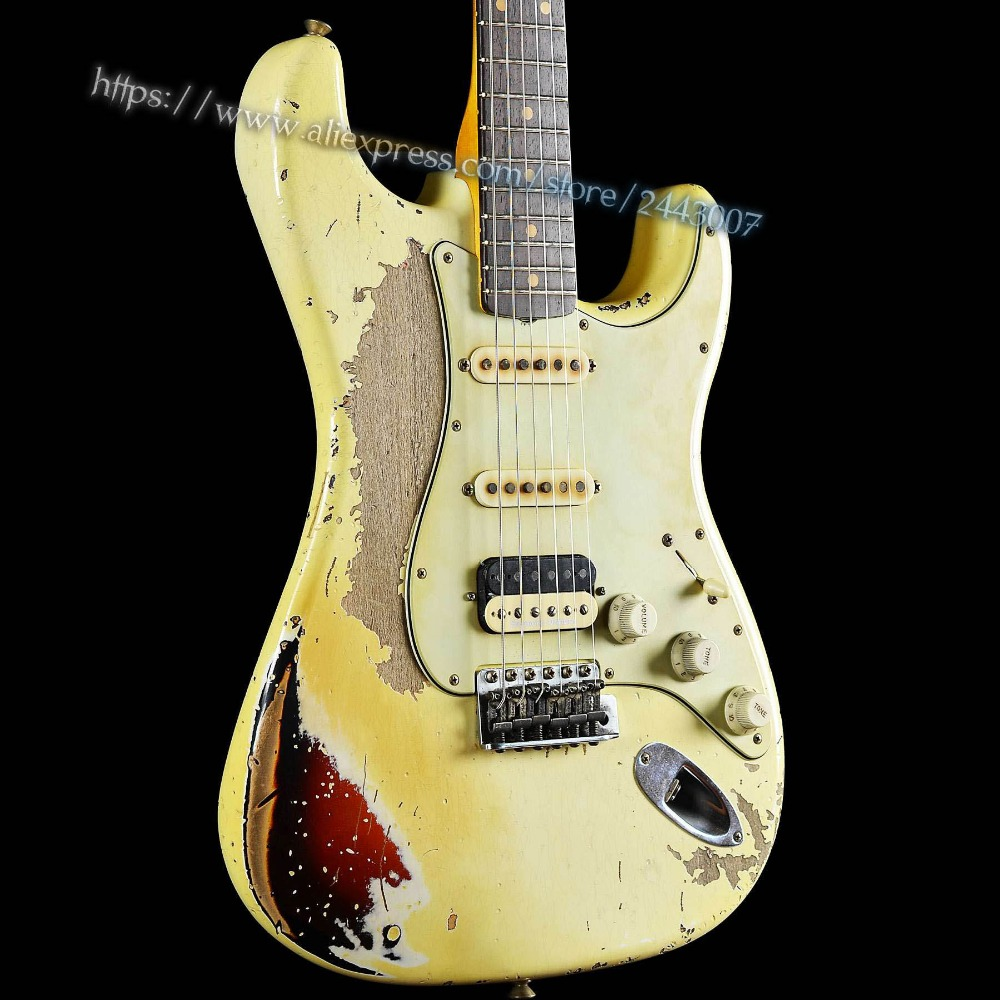 GC Custom Shop Masterbuilt John Cruz 1961 HSS Heavy Relic Electric Guitar White Over 3 Tone Sunburst gc custom shop musterbuilder 1963 jimi hendrix s owned heavy aged l14985 electric guitar white