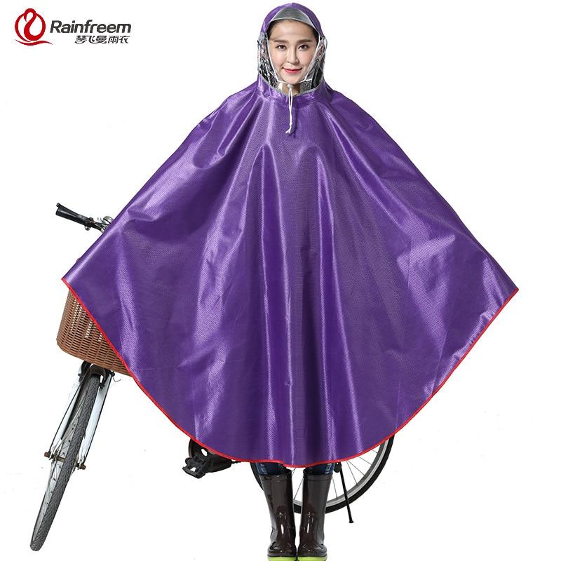 Rainfreem Impermeable Raincoat Women/Men Thick Bicycle Rain Poncho Plaid Oxford/Knitting Jacquard Women Waterproof Rain Gear