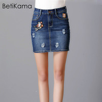 BetiKama Summer Spring Women Casual Vintage Embroidered Denim Pencil Skirt 4XL Ladies Plus Size 40 75KG Micro Mini Skirts Female