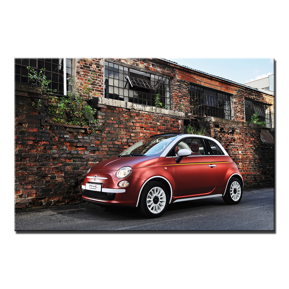 Vehicle Wall Art Posters Fiat 500 Wallpaper Canvas Print