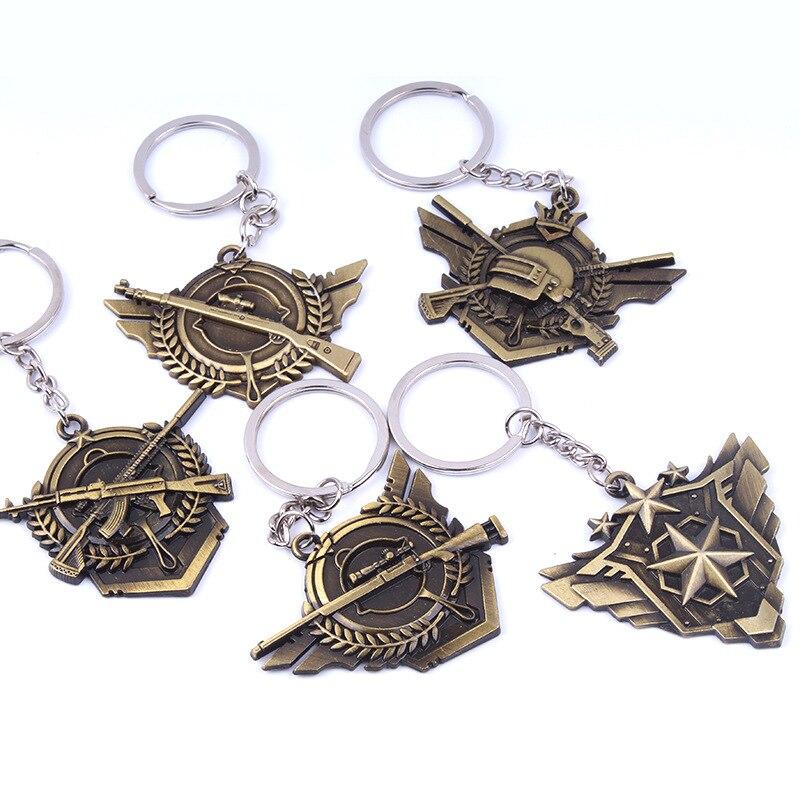 PUBG Keychain Battle Grounds Keychain Helmet Pan 98K Gun Alloy Keyring Jewelry FPS Game Fans Gift llaveros mujer brelok