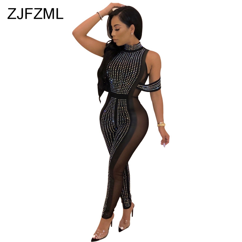 73bfc6c0321 Detail Feedback Questions about Glitter Rhinestone Sexy Party Jumpsuit Women  Sheer Mesh Patchwork See Through Bandage Romper Fashion Off Shoulder Skinny  ...