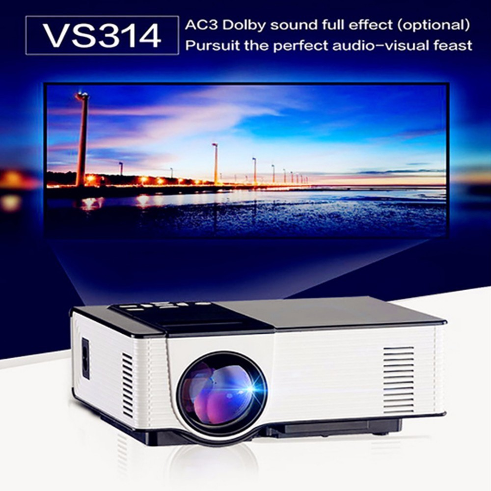 VS314 Mini LED Projecteur Full HD 1500 Lumens 800x480 Pixels 0.9-6 M Accueil TV Media Player Portable Home Cinéma Proyector uc46