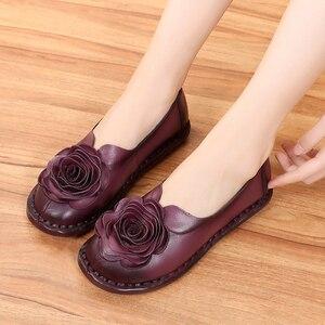 Image 3 - GKTINOO Casual Genuine Leather Flat Shoe Women Shoe Flower Slip On Driving Shoe Female Moccasins Women Flats Lady Shoes