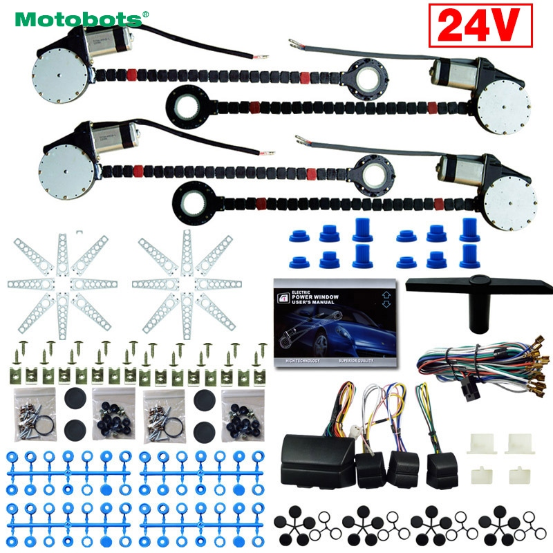 MOTOBOTS 1Set DC24V Car/Truck Universal 4 Doors Electronice Power Window kits With 8pcs/Set Swithces & Harness #AM4498