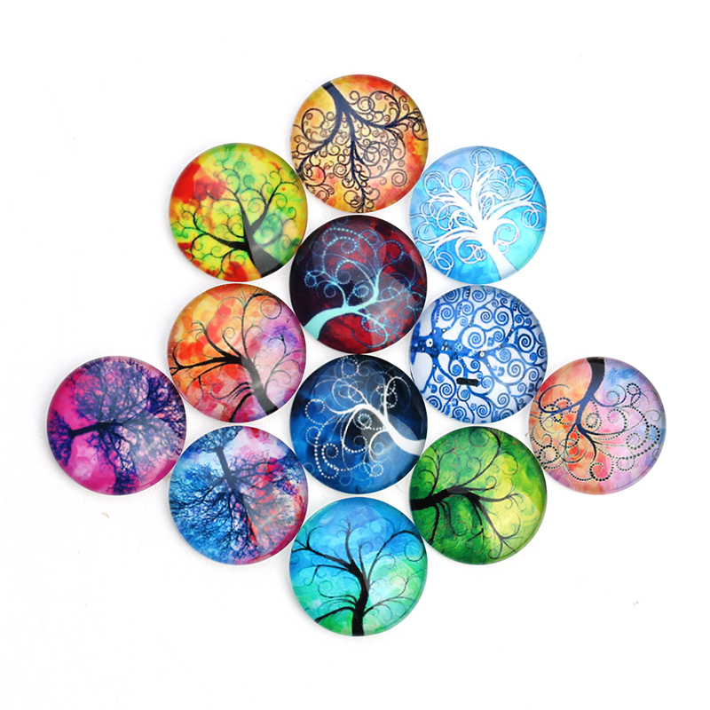 5-10x Multi Coloured Flowers Glass Cabochons  10//12//14//18//20//25mm 2