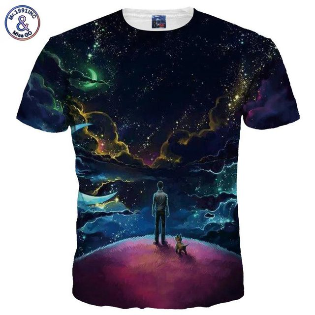 Mr.1991INC New Arrivals Men/Women 3d T-shirt Digital Print Moon Night Space Galaxy Tshirts Quick Dry Summer Tops Tees