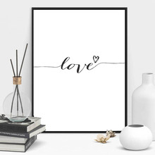 Love Sign Word Art Black White Poster Canvas PrintS inspirational wall modern home decor painting on the picture HD2163