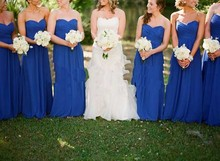 Sweetheart Long Chiffon Ruffeld Royal Blue Bridesmaid Dresses Teens Simple Floor Length Vestido De Festa Longo Azul Party Dress
