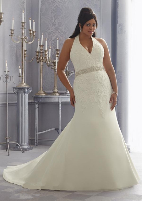 Lace Halter Wedding Dress Plus Size Vestido De Noiva Longo Branco