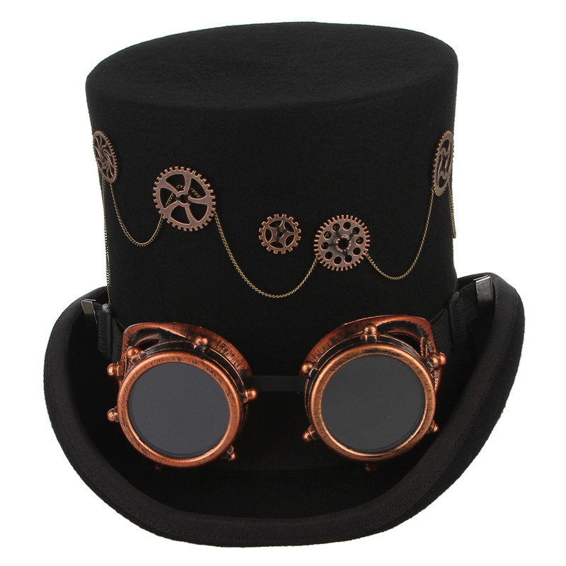 Image 2 - GEMVIE 100% Wool Felt Steampunk Unisex High Top Hats With Gear Glasses Rock Band Hat Costume Fedoras Magic Party Cylinder Hat-in Men's Fedoras from Apparel Accessories on AliExpress