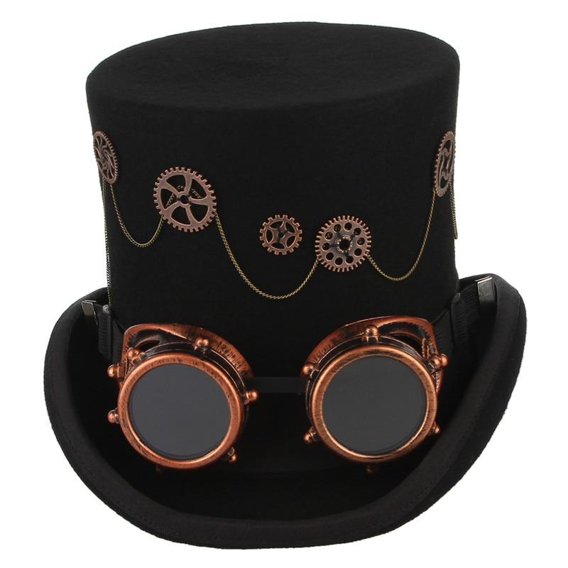 GEMVIE 100% laine feutre Steampunk unisexe haut chapeaux avec des lunettes de vitesse Rock bande chapeau Costume Fedoras magique fête cylindre chapeau - 2