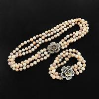 Natural Pearl Jewelry Sets Necklaces And Bracelets With Shell Flower And Brass Box Clasps Bisque 18