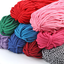 5Meter/Lot 5mm Thick Colored Decorative Twisted Cord Rope Pure White Red Pink Green Black Knit Corde Coton Decor