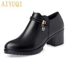 Купить с кэшбэком AIYUQI women shoes high heel plus size 41 42 43,spring 2019  new genuine leather women shoes,  fashion dress shoes women