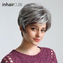 """Inhair Cube 1"""" 50% человеческие волосы синтетические женские"""" s парики натуральные пушистые прямые серые короткие текстуры для американских африканских"""