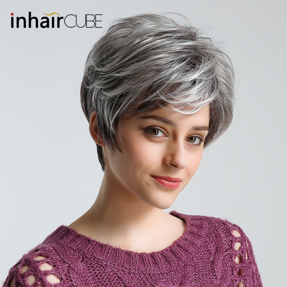 Frugal Inhair Cube 10 Inch Hot Sale Synthetic Wigs Gray Short Texture Fluffy Straight 50% Human Hair Wigs For American Afican Women Selected Material