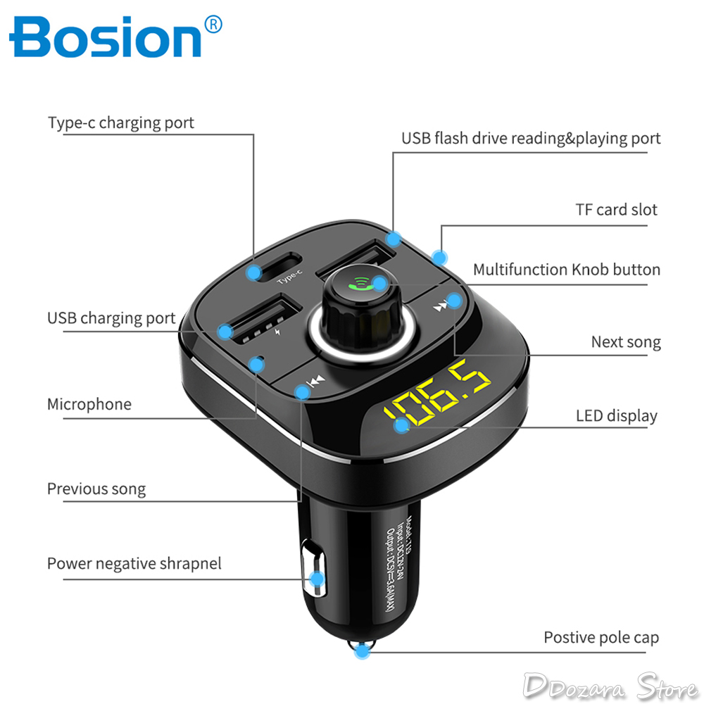 Car Kit Handsfree Wireless Bluetooth FM Transmitter LCD MP3 Player USB Charger 3.1A Car Accessories Handsfree usb