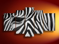 100% Hand painted modern wall home decor canvas animal oil painting zebra landscape 5pieces abstract black white stripes