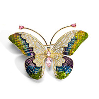 Richight 850439 Zircon Butterfly Brooches Enamel Pin Rhinestone Brooch Jewelry Luxury Fashion Accessories Insect Brooch Pin