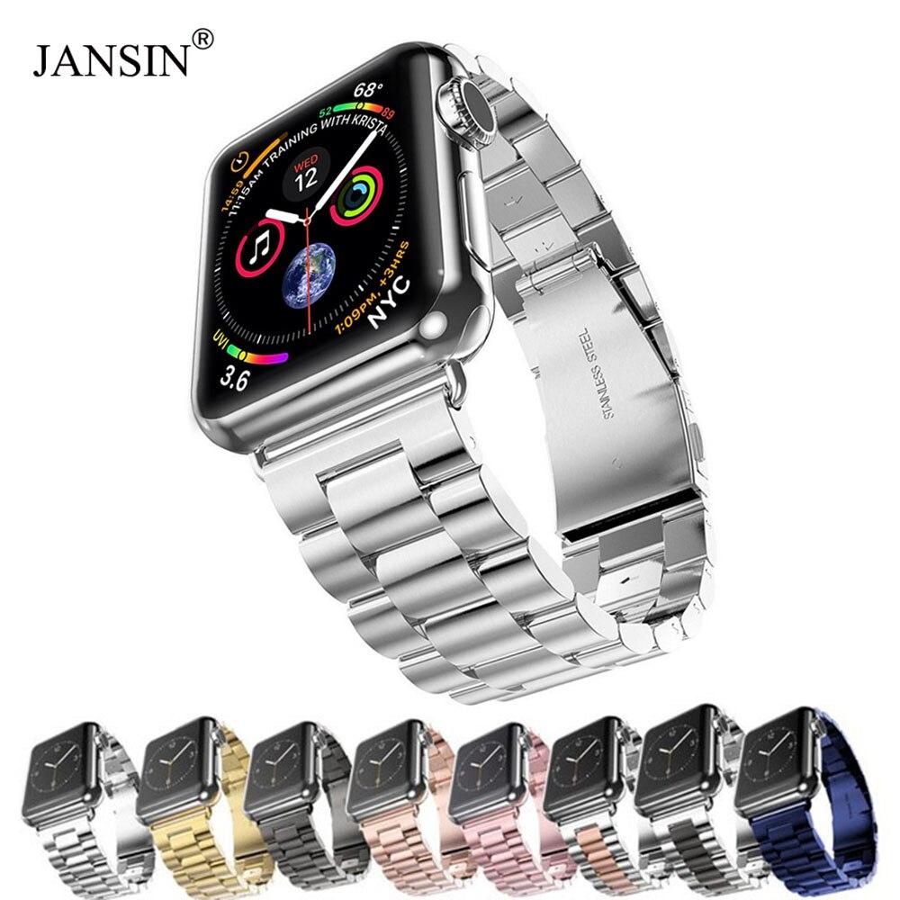 JANSIN Luxo Em Aço Inoxidável Relógio banda strap Para Apple 42mm 38mm 44mm 40mm Pulseira pulseira banda para iwatch série 5 4 3 2 1