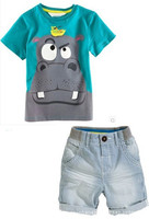 Hot Sale Retail New Style Summer Baby Boys Hippo Print T Shirt Pants 2pcs Set Boy