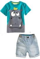 Hot Sale Retail New Style Summer Baby Boys Hippo Print T Shirt Pants 2pcs Set Boy
