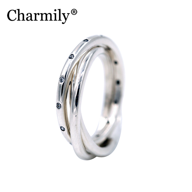 7ee20827a Charmily Jewelry 925 Sterling Silver Swirling Symmetry Clear CZ Ring Women  Jewelry Best Gift