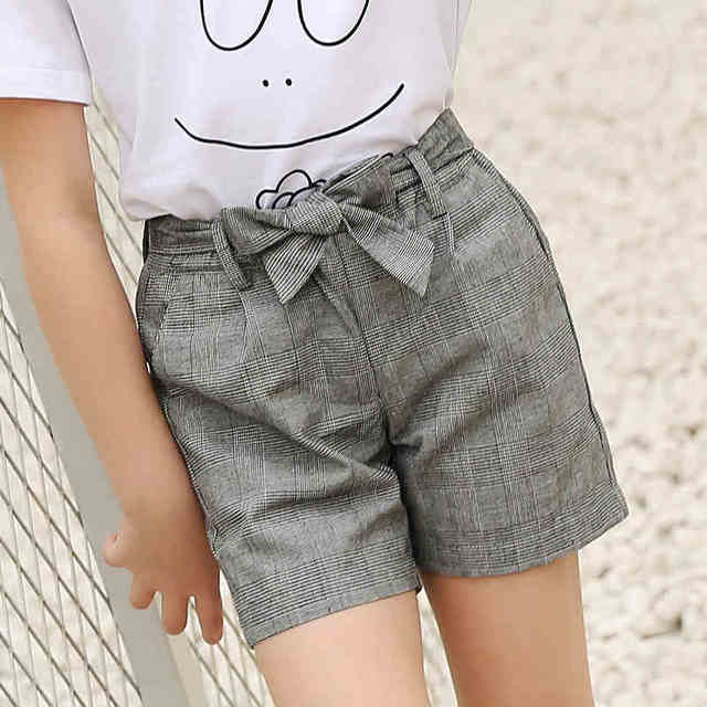 a3db07cfa3e6 Hot Female Big Girl Shorts Casual Trousers Summer Wear Pants Baby Plaid Short  Pants Age 7 8 9 10 11 12 13 14 15T FP1308