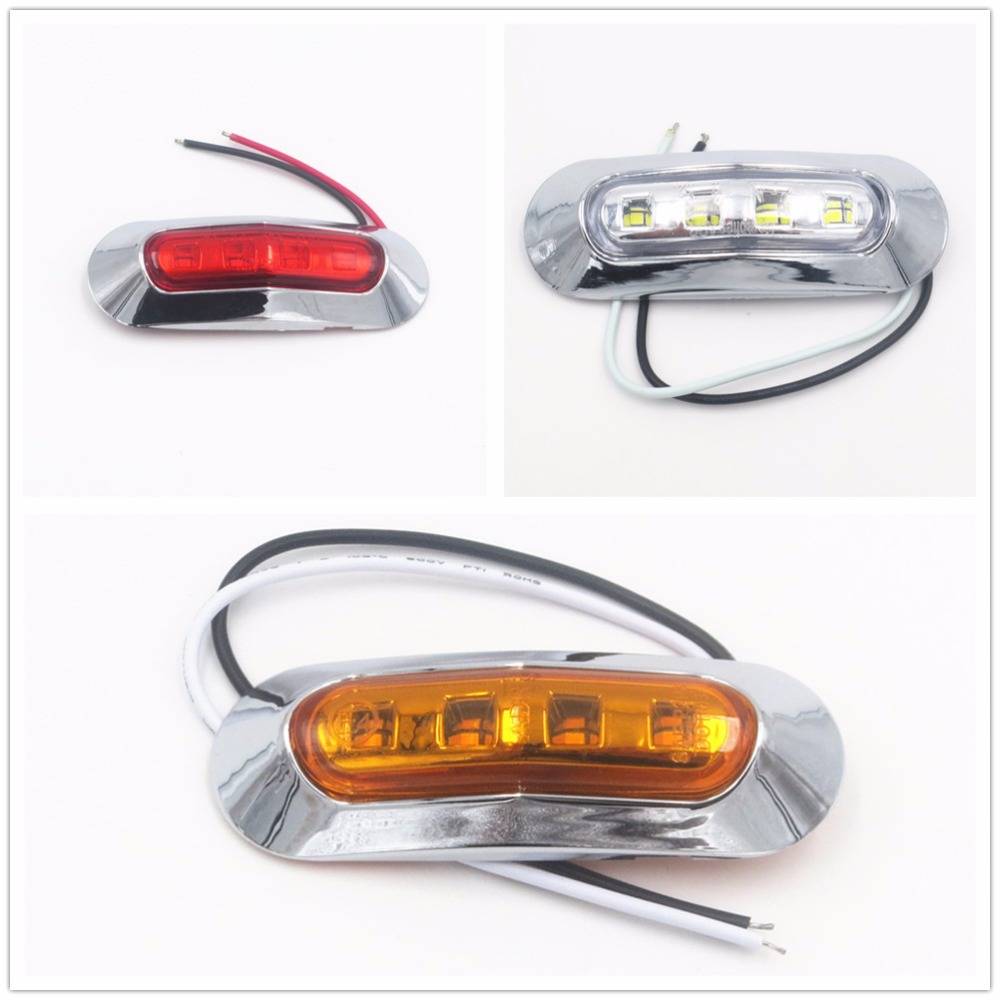 CYAN SOIL BAY 1pc Truck LED Side Marker Lights Tail Lamp 12V/24V Car Truck Trailer Rear Lights Parking Light Red White Amber cyan soil bay car auto t10 25w 30 led smd 4014 lamp parking reverse backup light w16w fog bulb ice blue red amber yellow white