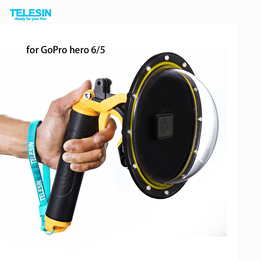 TELESIN 6 Dome Port Waterproof Case Housing for GoPro Hero 5 Black Hero 6 Trigger Dome