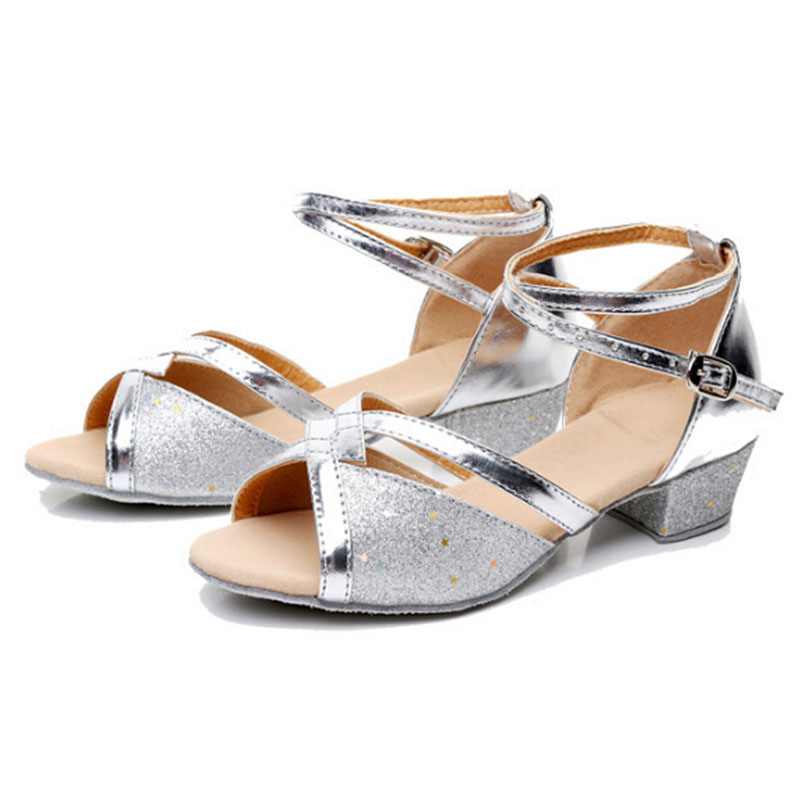 Children Cross Strap Sandals Girls Gold Silver Glitter Low Heel ...