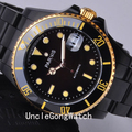 40mm Parnis Ceramic Bezel Black Dial Stainless Steel Black PVD Case Automatic Men's Watch PA4004PGB