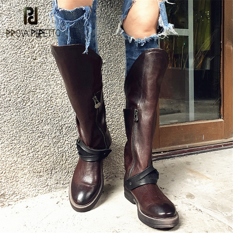 Prova Perfetto Punk Style Women High Boots Retro Flat Knight Boot Straps Martin Boots Autumn Winter Platform Rubber Botas Mujer prova perfetto punk style women martin boots platform flat botas mujer straps buckles rubber shoes woman knee high boots