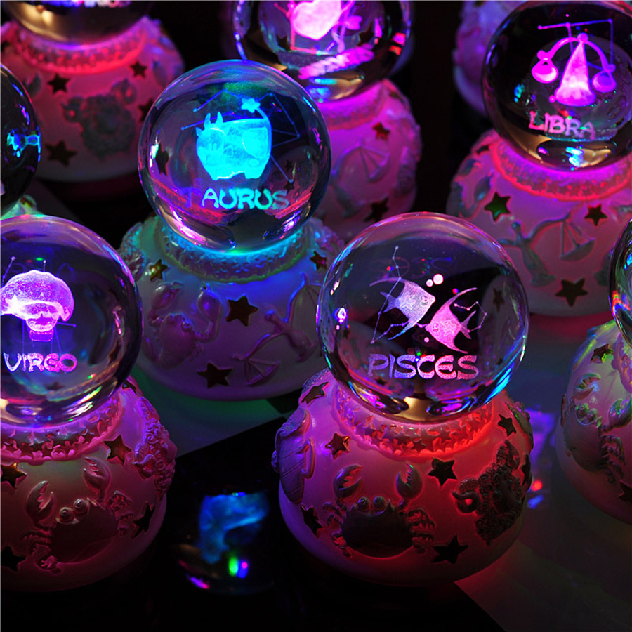 12 Constellation Rotating Crystal Ball Music Box LED Light Musical - Heminredning - Foto 3
