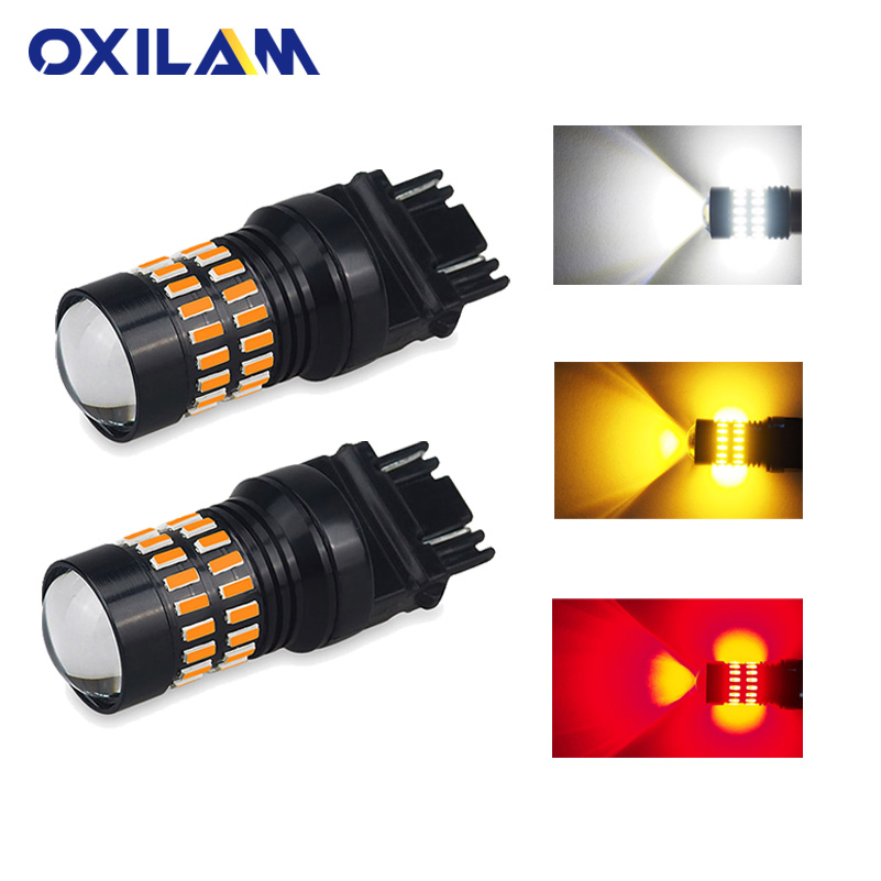 OXILAM 2Pcs <font><b>T25</b></font> 3157 3156 P27/7W <font><b>LED</b></font> Bulb 4014 SMD Turn Signal Car Lights Stop Brake Light DRL Reverse Light Red White Yellow image