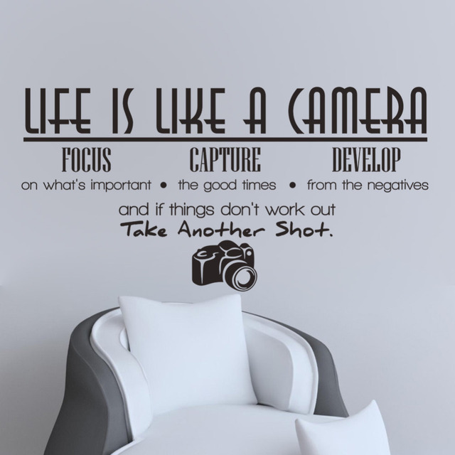 Free shipping removable life is like a camera quote wall stickers decals office study decoration mural