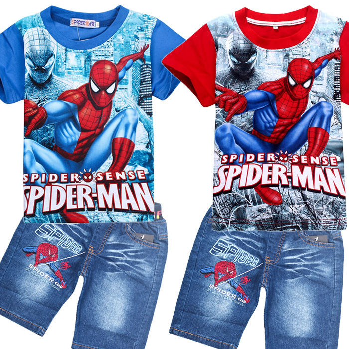 2018 New Year Spiderman Kids Clothes Boys Sets Boys Summer Cotton Short Sleeve Jeans Blouse and shirt Clothing Suits