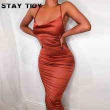 STAY TIDY Summer Women Soft Satin Maxi Dresses Sexy Backless Lace Up Cross Zipper Hollow Out Dress Party Bodycon Vestiods 2019 sexy stand collar hollow out lace up zipper velvet dress for women