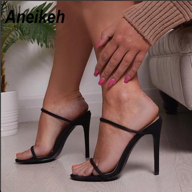 37eebfe87 € 13.17 48% de réduction|Aneikeh 2019 femmes sandales talon aiguille  chaussures à talons hauts sangle cheville Wrap OL Sexy pompe robe de soirée  ...