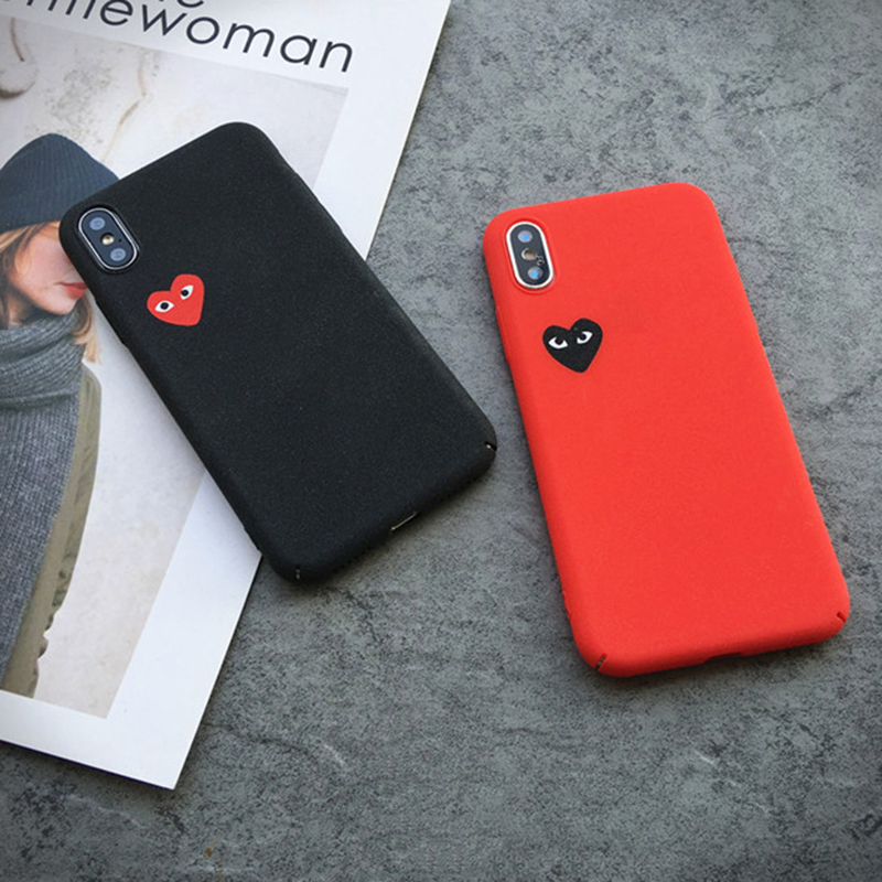 Hot Love CDG Play Comme des Garcons Hard Matte Protect cover case for iphone 6 6S S plus 7 7plus 8 8plus X Frosted phone cases